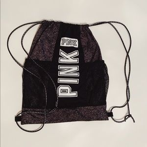 Victoria's Secret PINK gray drawstring bag